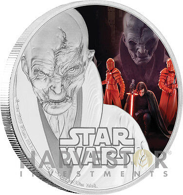 2017 Star Wars The Last Jedi - Supreme Leader Snoke - 1 Oz. Silver Coin Ogp Coa