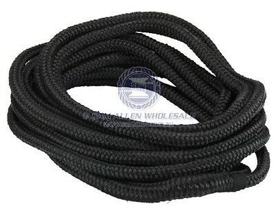 2 x Black Mooring Line - 12mm X 6m - Soft Braided UV Stabilised