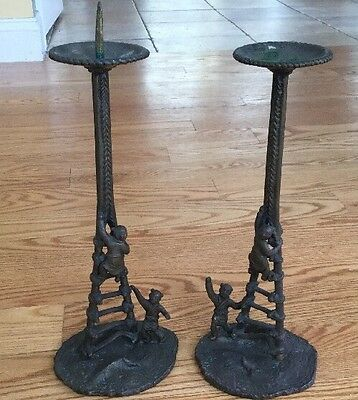"""CHINESE Bronze  Pair CANDLE STICKS PRICKETS Candlesticks People  Ladder 12 1/2"""""""