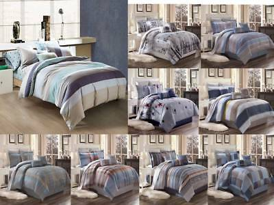 3Pc Contemporary Duvet Cover Set For Comforter Bed Striped And Checked Coverlet