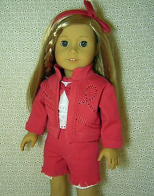 Doll Clothes 4pc Pink Denim Jacket + Shorts + Top fits American Girl 18 *t
