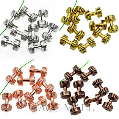 Solid Metal Dumbbell Fitness Stripe Style Bracelet Connector Spacer Charm Beads