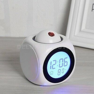 Alarm Clock Multi-function Digital LCD Voice Talking LED Projection White