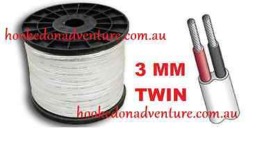 Tined 20M x 3mm MARINE GRADE 2-CORE TWIN SHEATH WIRE  ELECTRICAL BOAT CABLE
