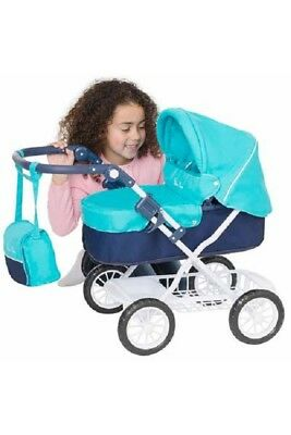Classic dolls pram with fully adjustable handle max height 71cm. Aqua