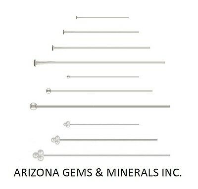 """Sterling Silver.925 Head Pins Choose Size & QTY. 1' 1.5"""" 2"""" 3""""- 26+24+22 Gauge"""