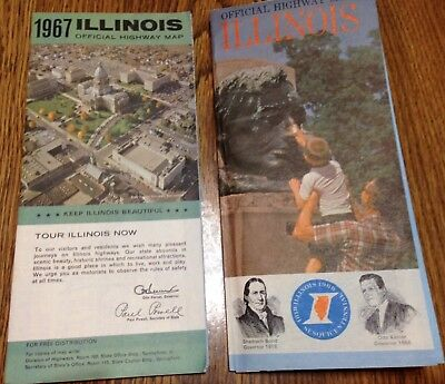 2 Vtg. Illinois State Road Maps '67 Paul Powell '68 Otto Kerner Sesquicentennial