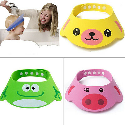 Cute Baby Kids Cartoon Shampoo Bath Bathing Shower Cap Hat Wash Hair Shield Soft