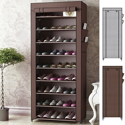 10Tier Canvas Fabric Shoes Rack Shoe Storage Cabinet Rail Organiser Zipper Stand