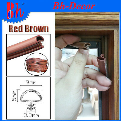 Extruded PVC Rubber Sealing Strip Door Frame Seal Weather Stripping B9 Red Brown