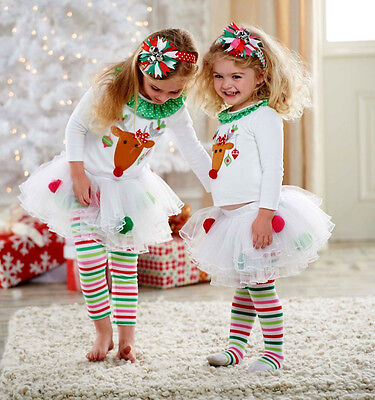 Xmas Kids Baby Girls Christmas Tops Tulle Tutu Pants Leggings Outfits Clothes UK