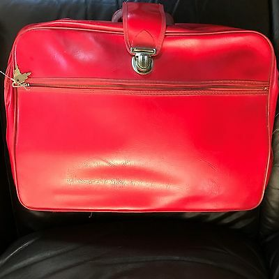 Vintage retro 1960s 1970s red suitcase travel overnight carry case w lock & keys