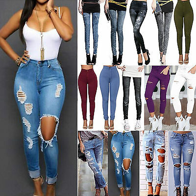 AU Womens Skinny High Waisted Ripped Stretch Jeans Jeggings Trousers Denim Pants