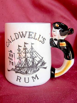 Caldwell's Rum Hot Toddy Whistle Mug w/ Figural Handle & Recipe Printed on Back