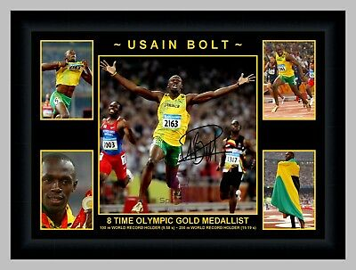 Usain Bolt 8 Time Olympic Gold Medallist 5 Photo Collage Signed Print Or Framed