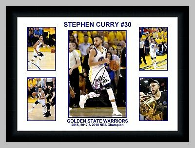 2017 Stephen Curry #30 Golden State Warriors 5 Photo Collage Signed Print/framed