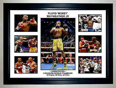 Floyd 'money' Mayweather Jr Boxing Photo Collage Signed Print Or Framed