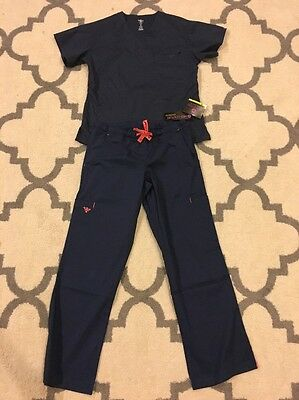 NWT med couture scrub set xs Top Xs Petite Pants New Navy Apricot