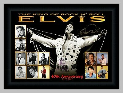 ELVIS PRESLEY 40th ANNIVERSARY ROCK N ROLL PHOTO COLLAGE SIGNED PRINT OR FRAMED
