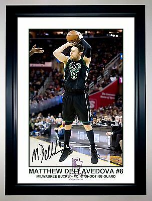Matthew Dellavedova Milwaukee Bucks Signed Action Photo Print Or Framed