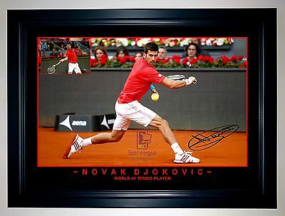 NOVAK DJOKOVIC WORLD #1 TENNIS PLAYER 2016 A3 Signed Framed Action Photo