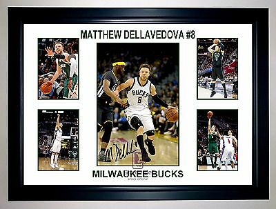 Matthew Dellavedova Milwaukee Bucks Signed Action Photo Collage Print Or Framed