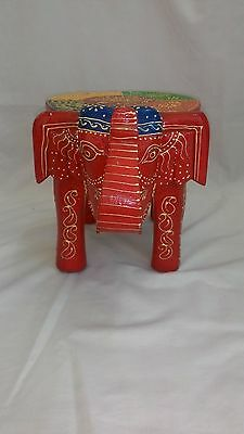 Wooden Hand Crafted Baby Elephant Stool Color Home Decor Art