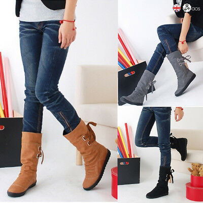 Ladies Womens Extra Wide Calf Stretch Mid Calf Under Knee Casual Boots Size Uk