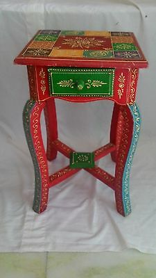 Wooden Hand Crafted  Stool with 1 Drawer Multi Color Home Decor Art