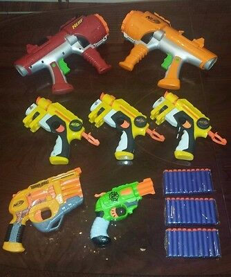 Nerf Gun Lot of 7: Persuader, Doublestrike, 2 Dart Tag, Etc. (30 Darts Included)