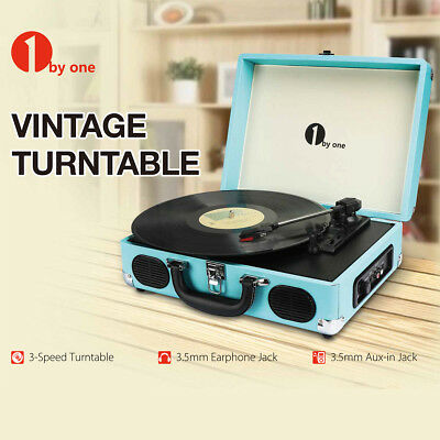 1byone 3 Speed Turntable Built-in Speaker Vintage Vinyl Record Player Belt Drive
