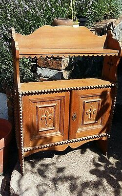 vintage wooden wall cupboard/ shelving very decorative, kitchen/ hall shelving