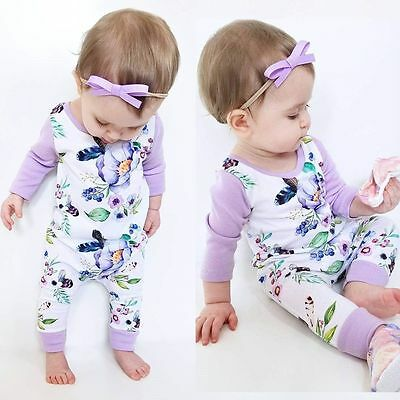 Infant Baby Girl Kids Long Sleeve Floral Romper Jumpsuit Bodysuit Clothes Outfit