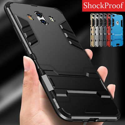 Hybrid Armor Shockproof Hard Rubber Case Cover Stand for Huawei P10 P9 P8 Lite