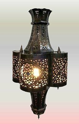 Large Antique Brass Moroccan Ceiling Lantern In Hand Pierced Tin - Tangier -