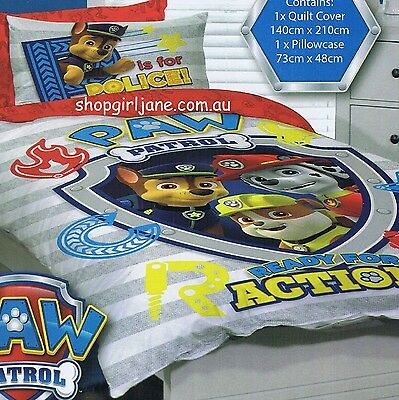 Paw Patrol - P is for Police - Single/US Twin Bed Quilt Doona Duvet Cover set