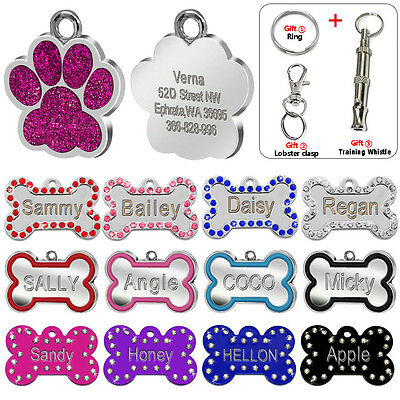 Personalized Glitter Bone Paw Shape Dog Tags Engraved ID Name Tag Free Whistle