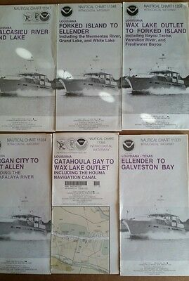 6 Vintage 80's Nautical Charts Louisiana Ellender,Wax Lake,Calcasieu,Morgan City