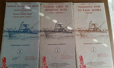 3 Vintage '67 Nautical Charts Norfolk, Albemarle Sound,Beaufort,Casino,Tolomato
