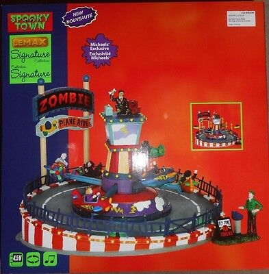 NEW NIB Lemax Spooky Town Halloween Sights & Sounds Animated ZOMBIE PLANE RIDE