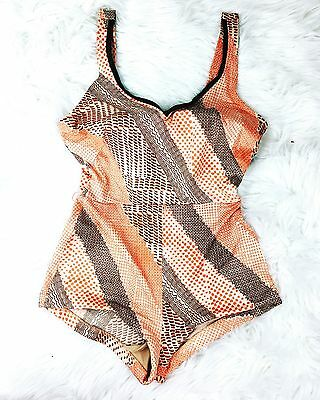 e-Stewart Vintage Swimmers Bathers Cream/Orange and Brown Pin-Up Glamour Size 12