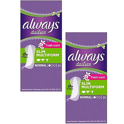 Always Dailies Panty Liners Normal Slim Flexi Style Scented Multiform - 60 Pack