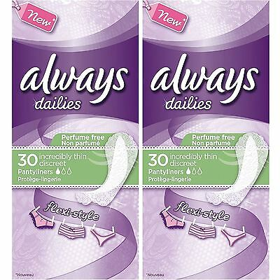 Always Dailies Womens Panty Liners Incredibly Thin Discreet Flexi Style, 60 Pack