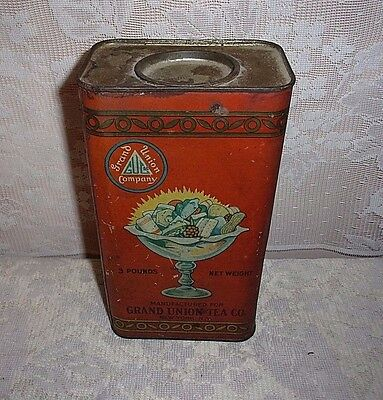 Antique Grand Union Tea Company CO. Filled Confections Advertising Tin
