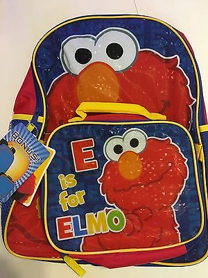"NEW Elmo Sesame Street Large 16"" School Backpack with Detachable Lunch Bag Combo"