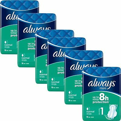 Always Maxi Sanitary Towels Normal Pads With Wings Odour Protection - Pack of 96