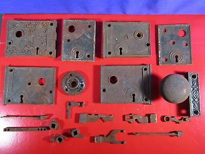 Vintage Victorian Cast Iron Door Lock Parts, Lot of 21 Pieces, Strkr Plate, Knob