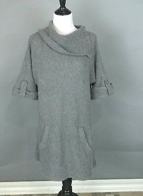 Motherhood Maternity Spring Sweater Large Gray Angled knit Long Dress Tunic