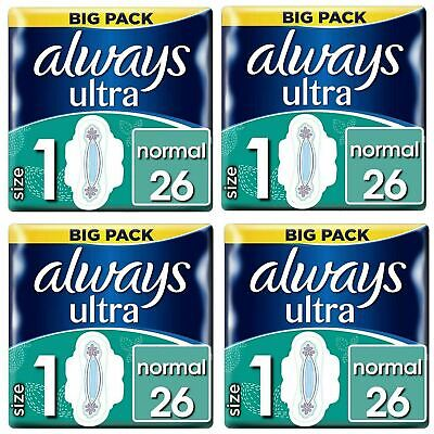 Always Ultra Normal Sanitary Towels Pads Size 1 Wings Women Absorbent - 104 Pack