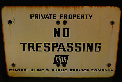 LARGE Industrial Antique Porcelain Enameled No Trespassing Private Property Sign